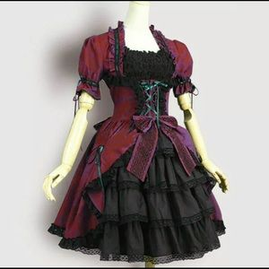 Dresses & Skirts - Women Medieval Lolita Dress Classic Sweat Flare Pa